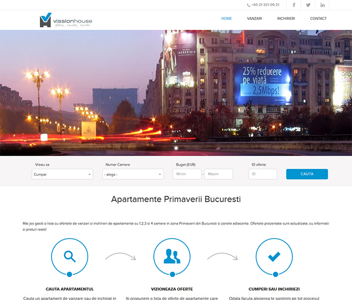 Website de nisa - vanzari si inchirieri de apartamente in zona Primaverii, Bucuresti