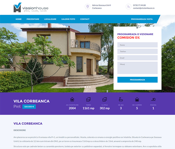Website de nisa - vanzare vila Corbeanca Bucuresti