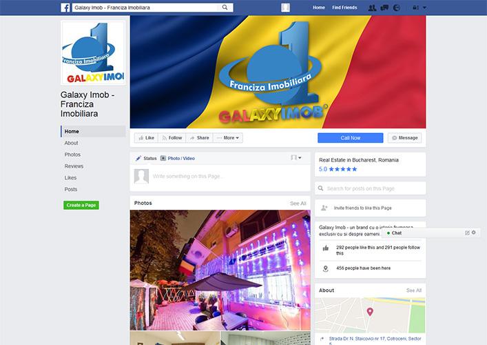 Design pagina facebook franciza imobiliara - Galaxy Imob - Bucuresti