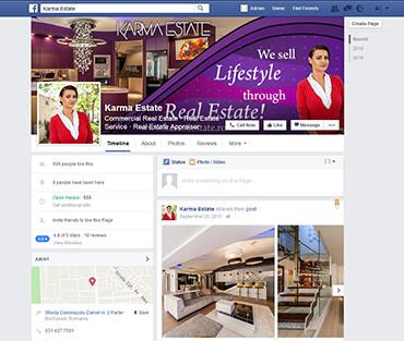 Design pagina facebook agentie imobiliara - Karma Estate - Bucuresti