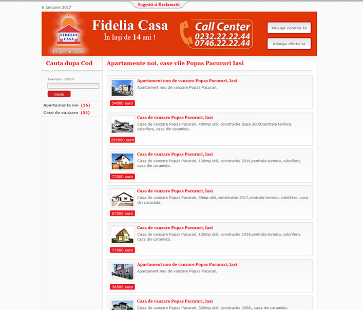 Website de nisa - apartamente noi, case vile Popas Pacurari Iasi