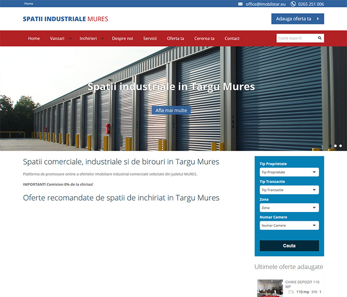 Website de nisa - spatii industriale Mures